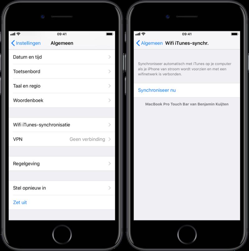 iPhone draadloos synchroniseren via iTunes.