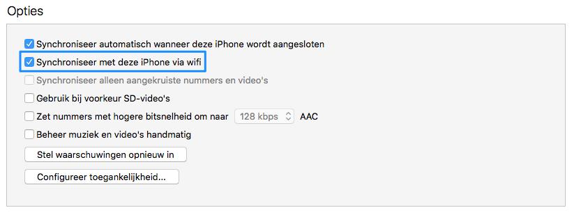 iTunes draadloze synchronisatie.