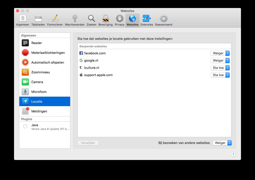 Safari op de Mac instelling voor website en locatie.
