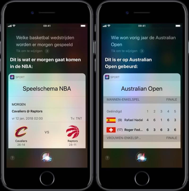 Speelschema's voor sport aan Siri.