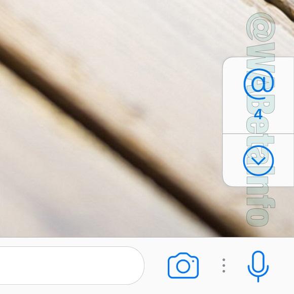 WhatsApp knop voor vermeldingen.