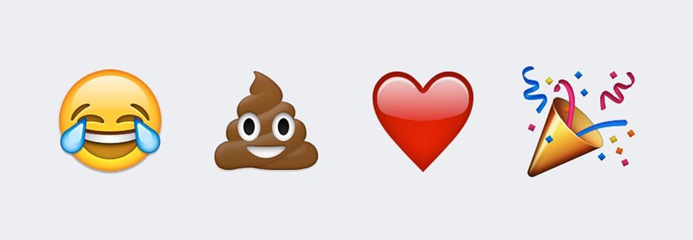 Emoji's van lachen met tranen, poep, hart en feest.