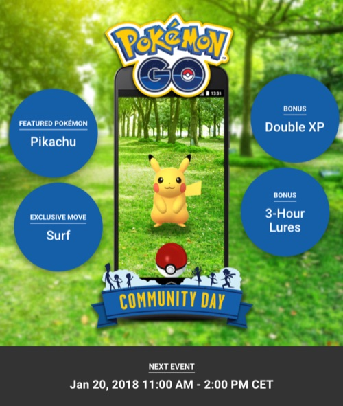 Pokémon Go Community Day januari 2018.