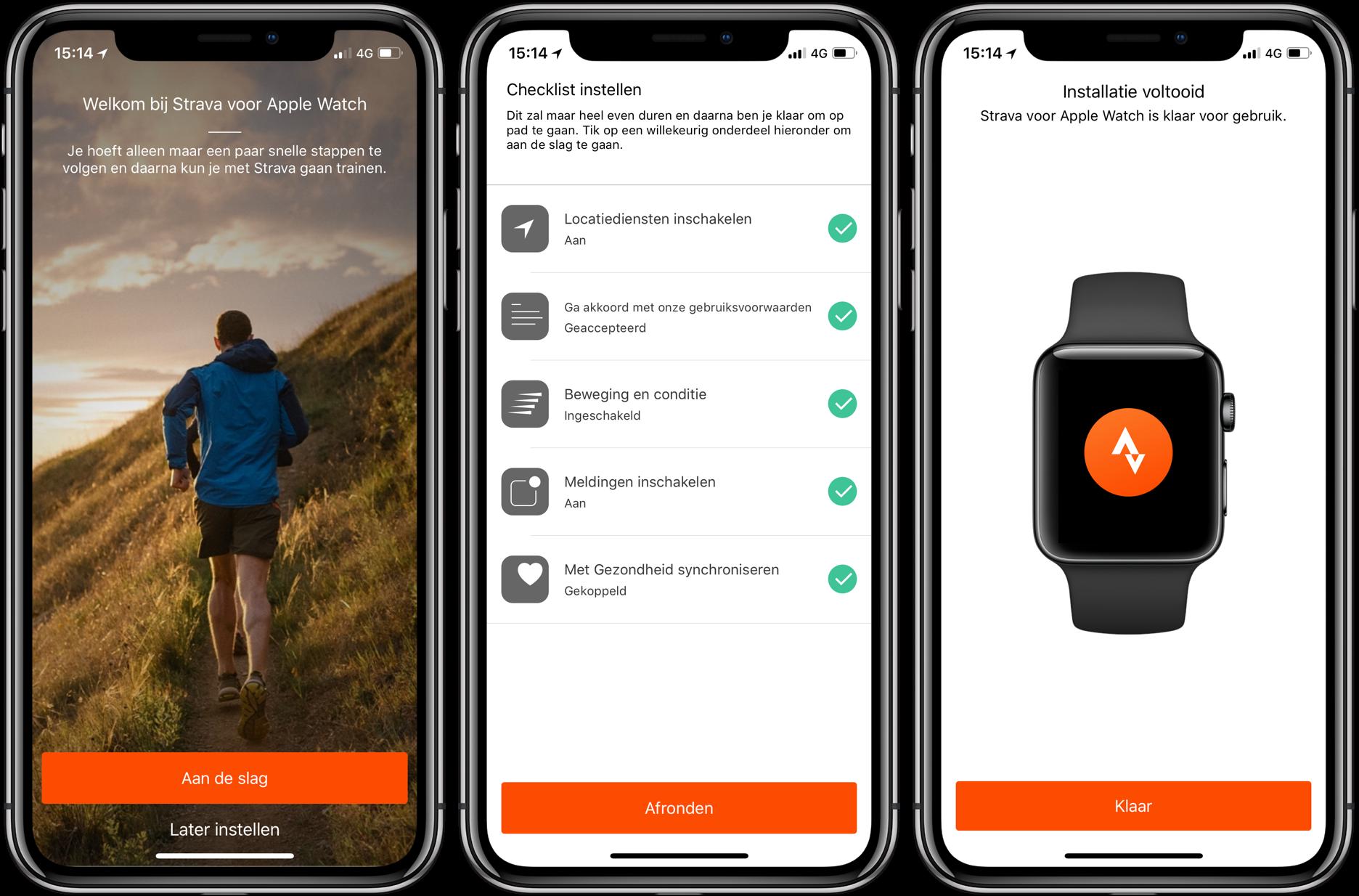 Strava op Apple Watch: eerst toestemming geven