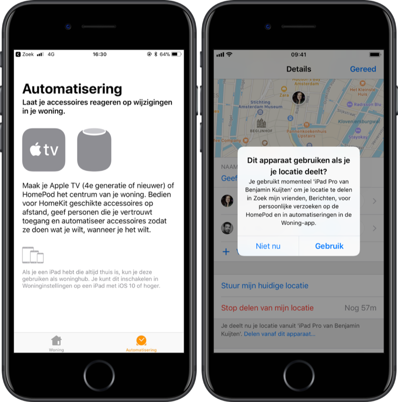 HomePod in Woning-app en iMessage.