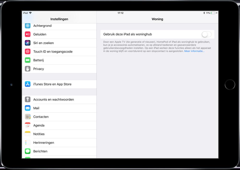 HomePod als Hub instellen in Woning-app.