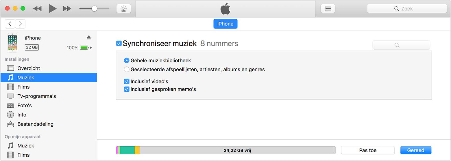macOS iTunes content synchroniseren