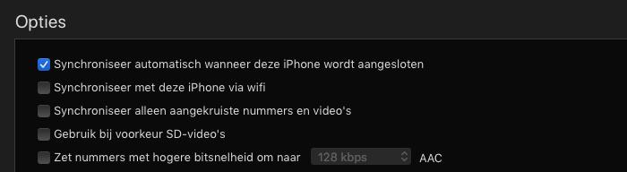 iTunes synchroniseren uit