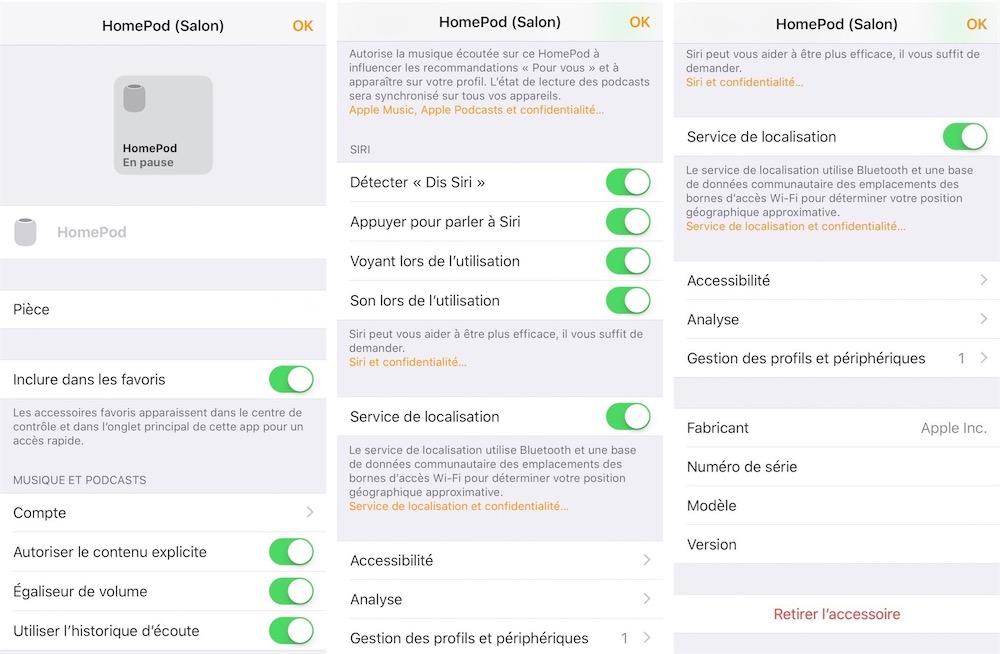 Instellingen van HomePod in Woning-app (Frans).