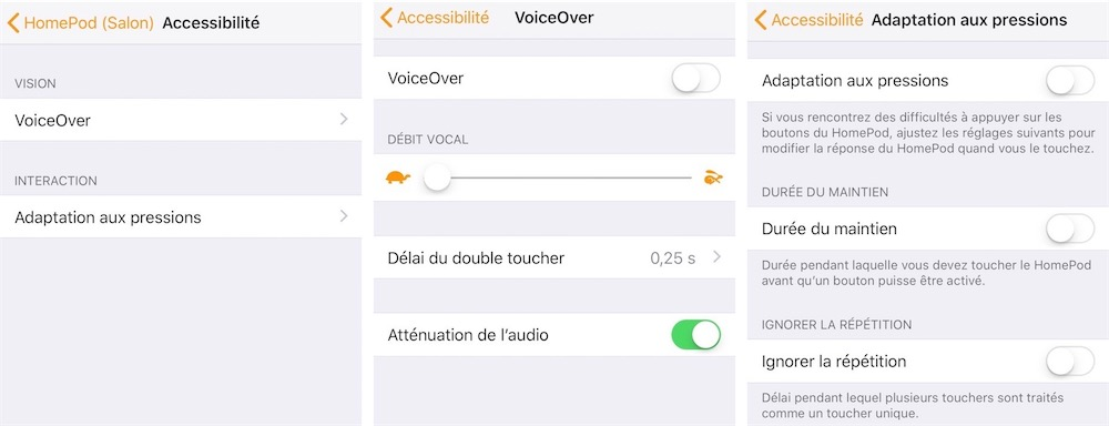 Instellingen voor toegankelijkheid voor de HomePod in Woning-app (Frans).