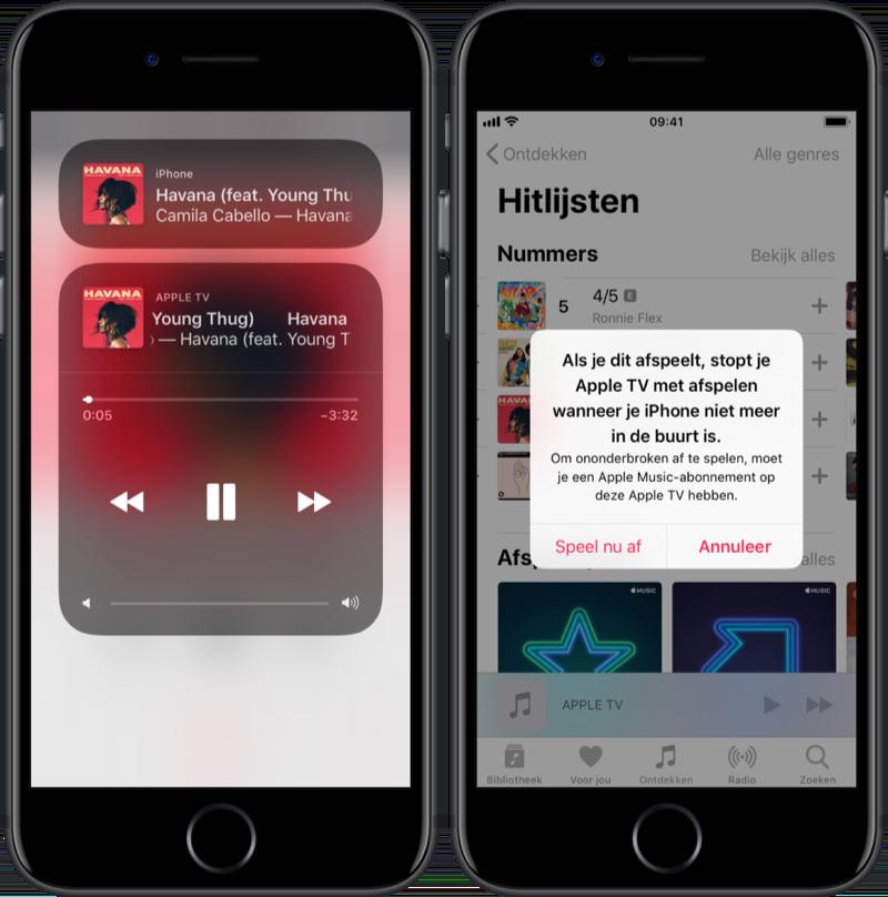 Muziek op meerdere apparaten bedienen vanuit de Muziek-app.