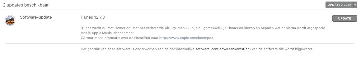 iTunes-update werkt met HomePod.