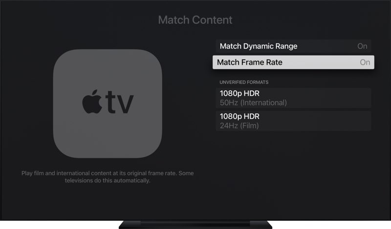 tvOS 11.2 framerate: content matching