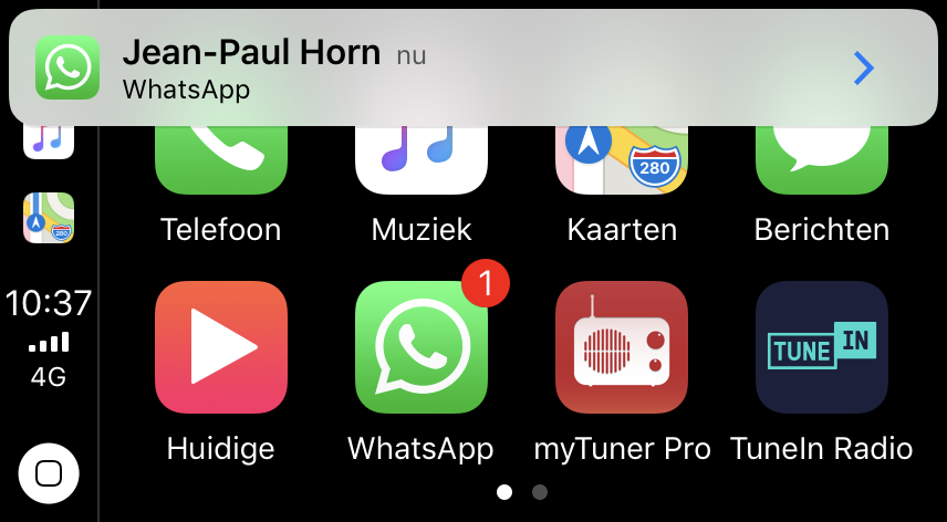 WhatsApp-melding in CarPlay.
