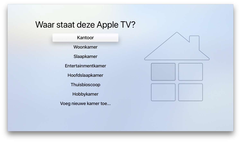 Kamer toewijzen aan een Apple TV in tvOS 11.4 voor HomeKit.