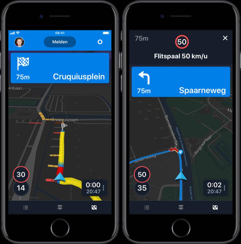 Bestemming bij navigatie via Flitsmeister.