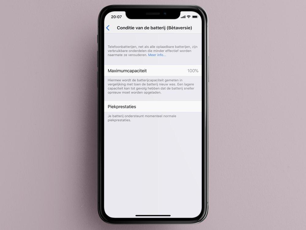 Batterijfunctie iOS 11.3