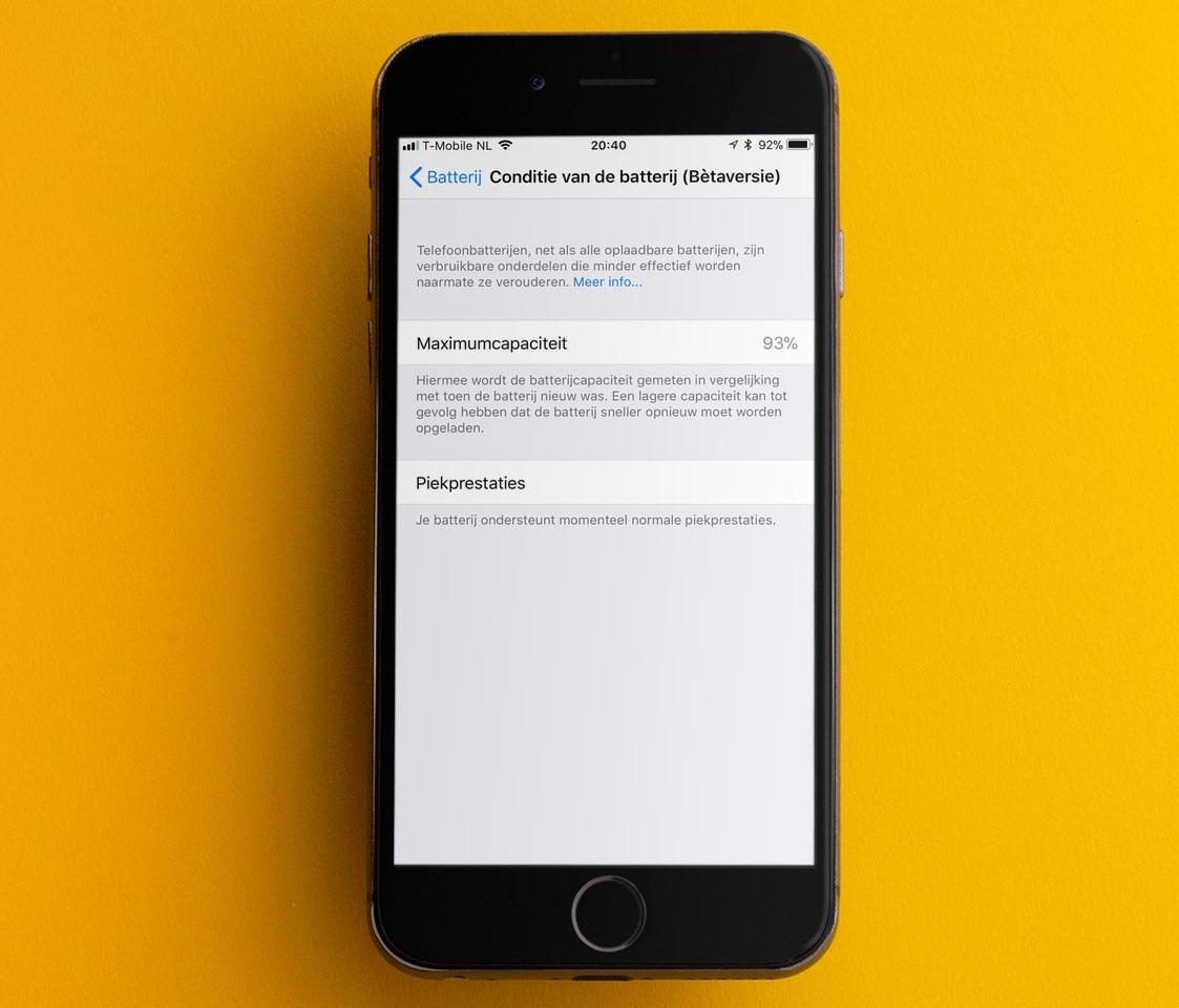 Conditie van de batterij in iOS 11.3