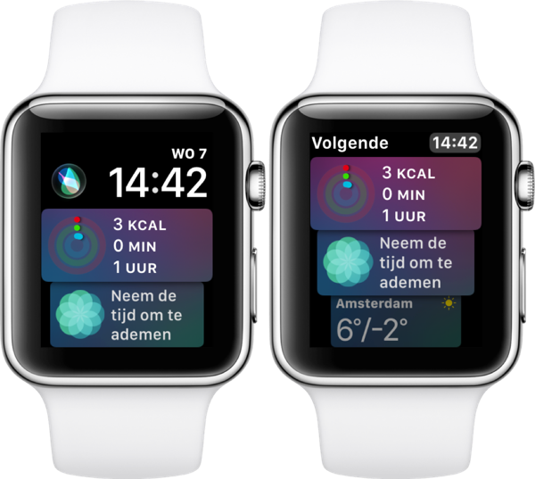 Siri-wijzerplaat in watchOS 4.3 op Apple Watch.