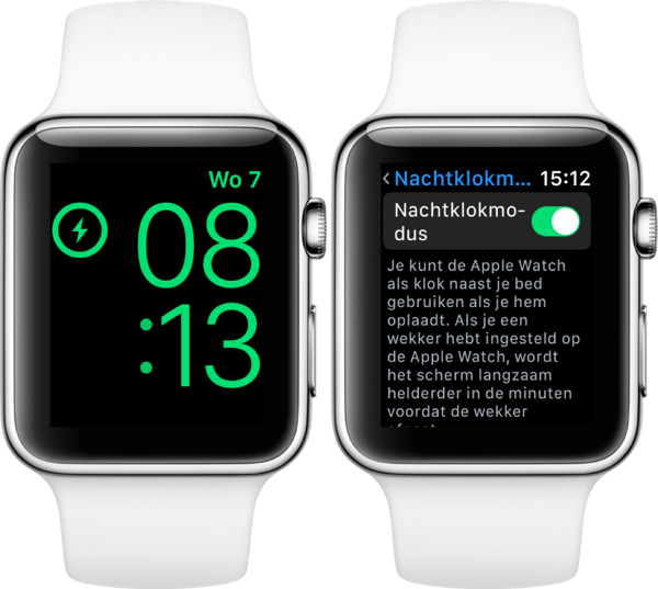 Nachtklokmodus in portretweergave in watchOS 4.3 op Apple Watch.
