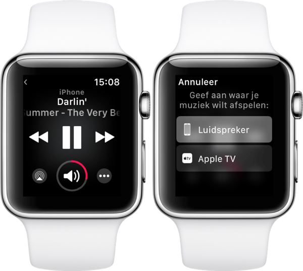 AirPlay en muziekbediening in watchOS 4.3 op Apple Watch.