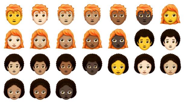Emoji met rood haar en kroeshaar