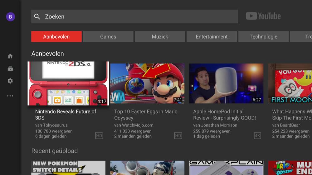 Beginscherm van nieuwe YouTube op Apple TV.