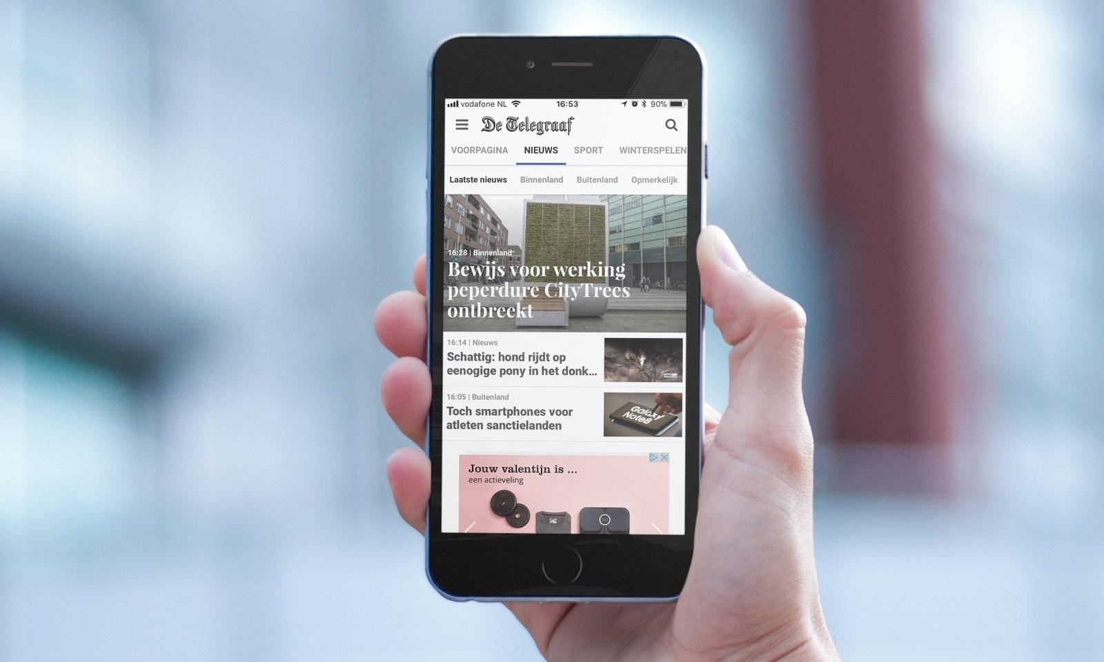 Telegraaf-app vernieuwd op iPhone.