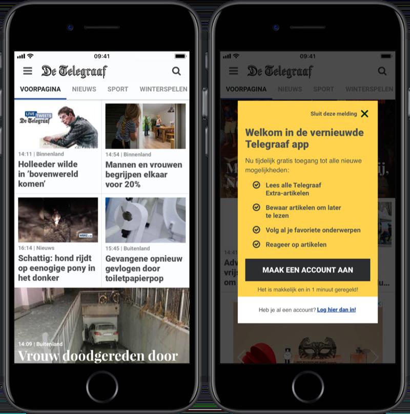 Vernieuwde Telegraaf-app.