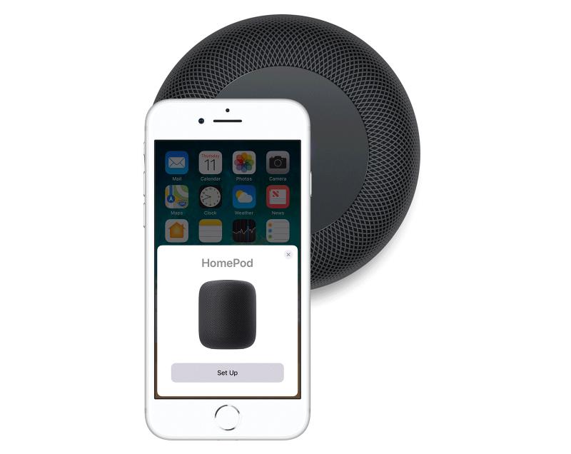 HomePod instellen via iPhone.