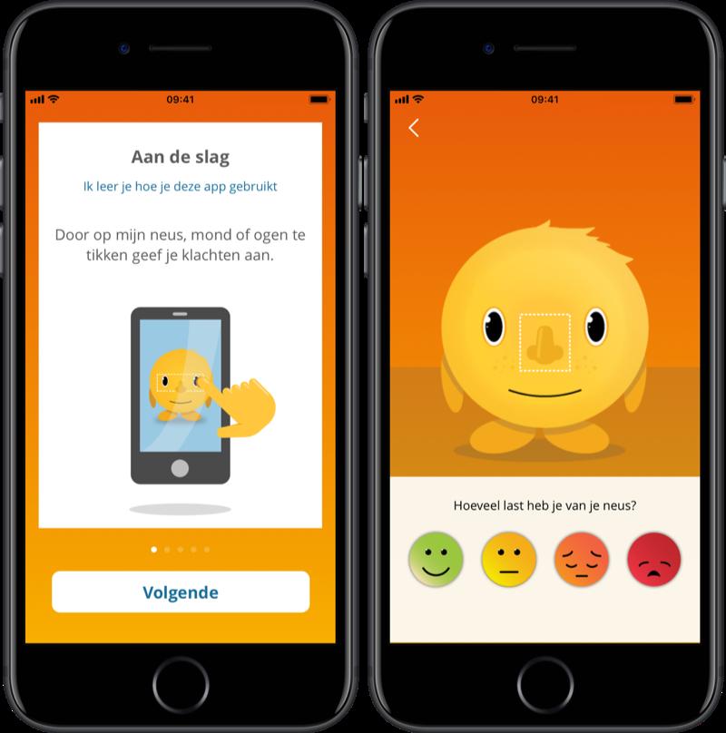 Klachten aangeven in AllerGoGo hooikoorts-app.