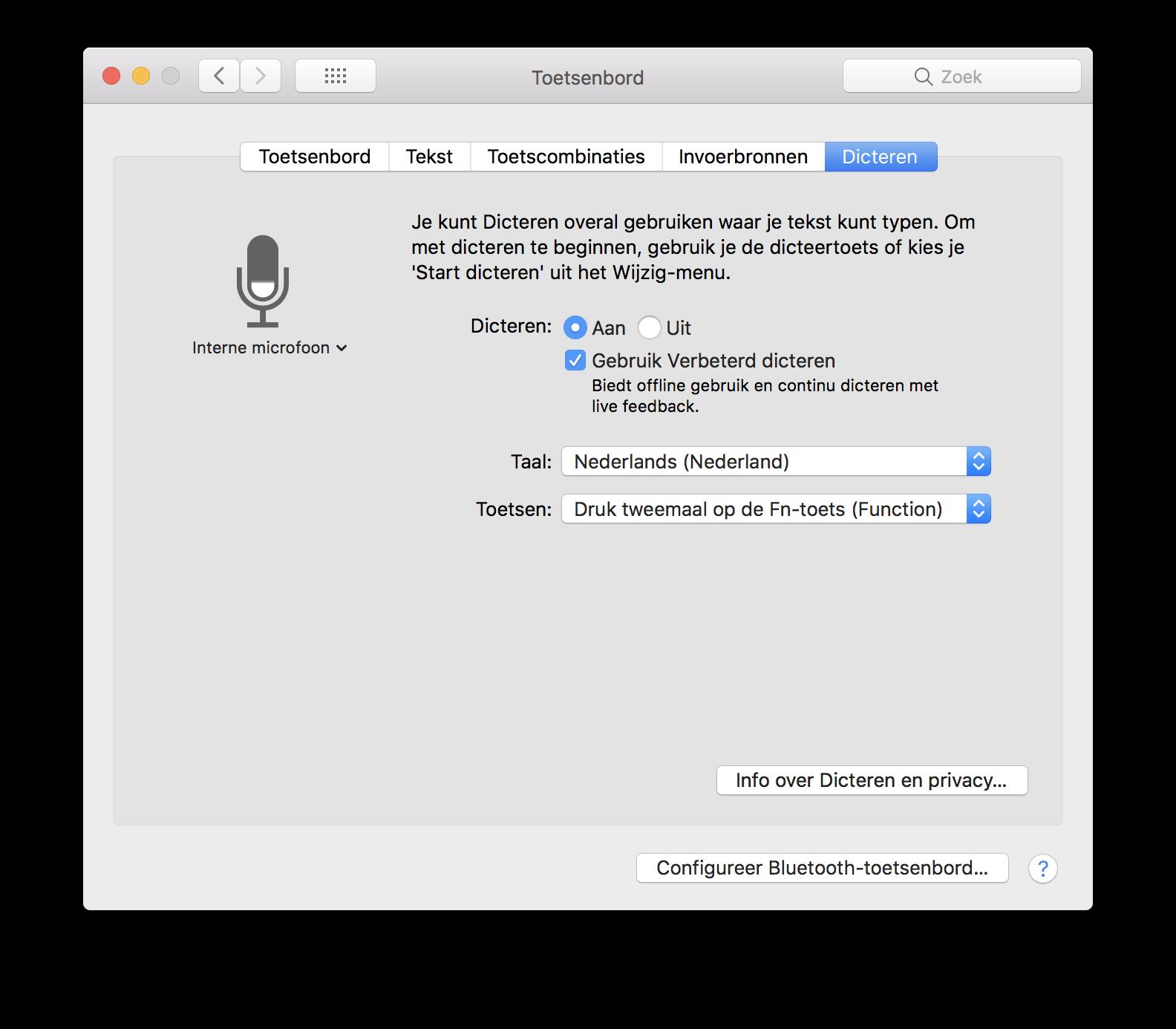 Dicteren Mac instellen.