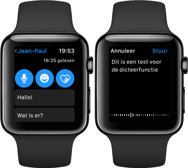 Dicteren op Apple Watch.