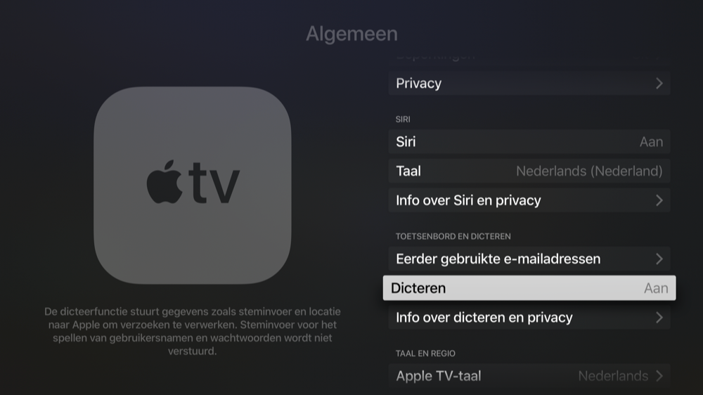 Dicteren op Apple TV instellen.