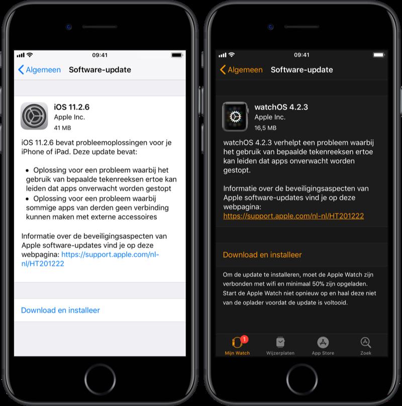 iOS 11.2.6 en watchOS 4.2.3.