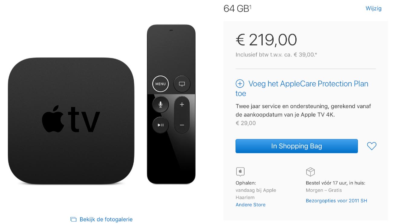 Apple TV 4K met 64GB in Apple Store.