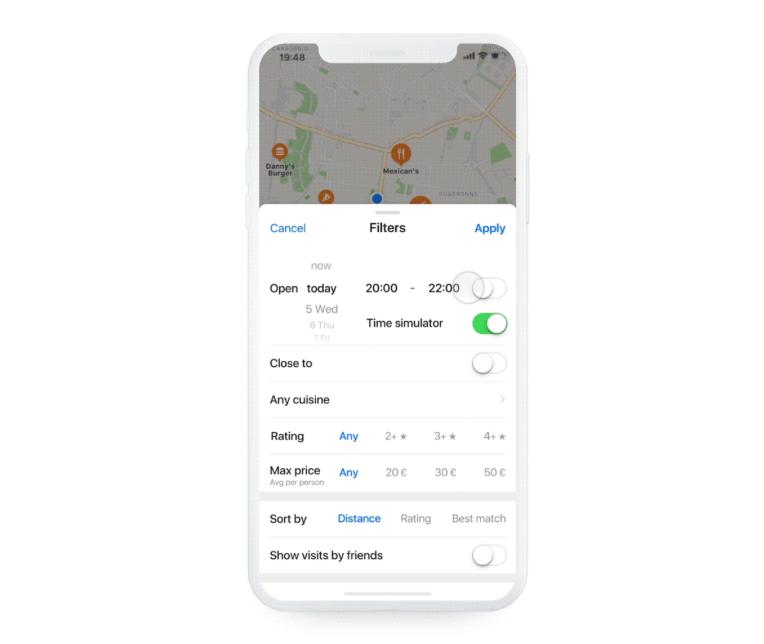 Apple Kaarten concept met filters.