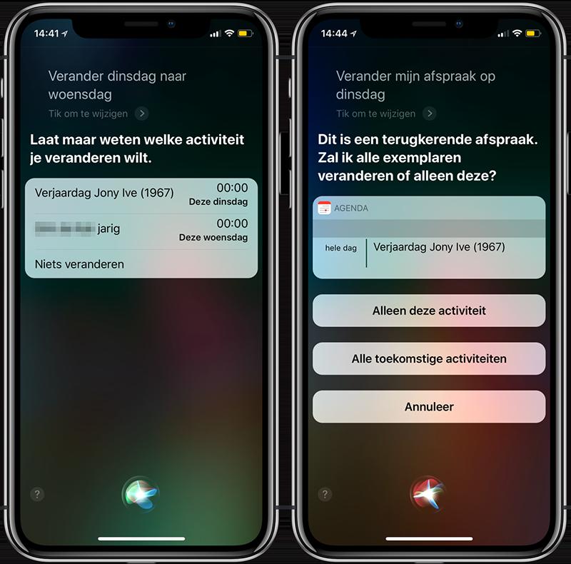 Siri afspraak wijzigen