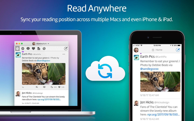 Twitterrific voor iOS en Mac.