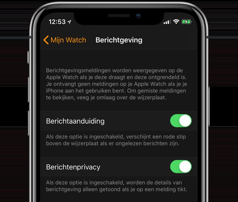 Apple Watch berichtenprivacy en berichtaanduiding