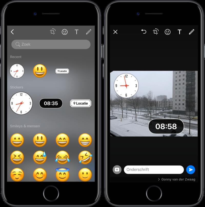 WhatsApp-stickers voor tijd en locatie.