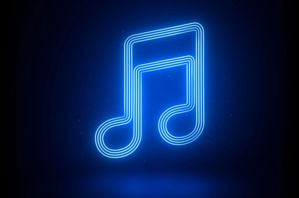 Apple Music-muzieknoot in neon.