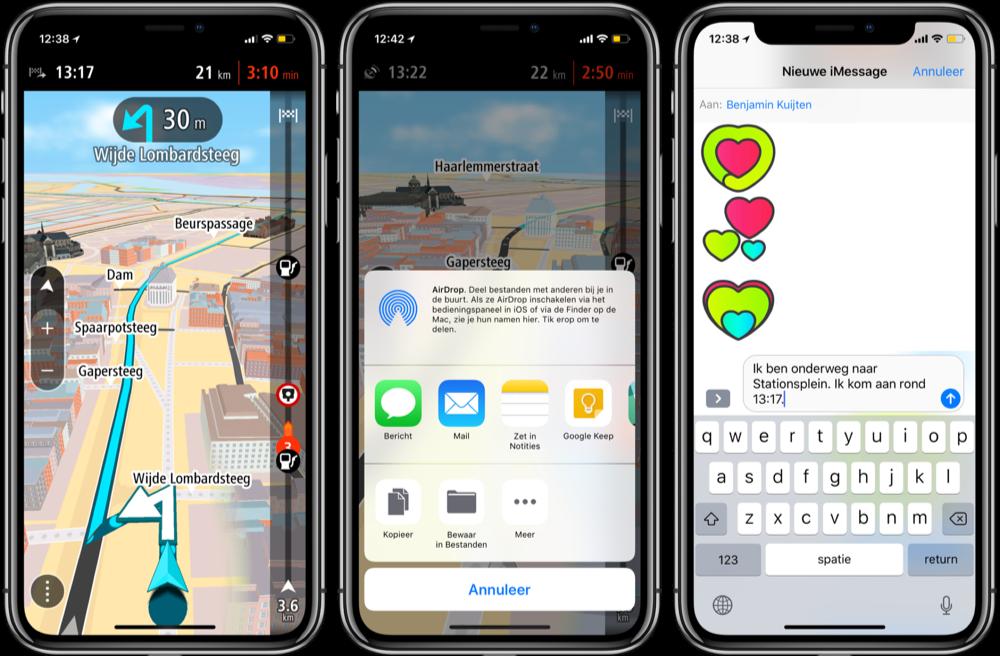 Aankomsttijd delen in TomTom GO Mobile.