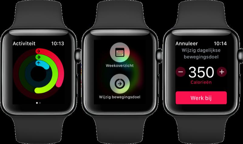 Bewegingsdoel in de Activiteit-app wijzigen.