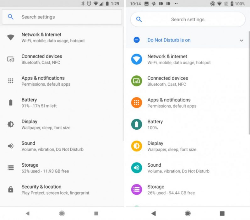 Design Android O versus Android P (via AndroidPolice)
