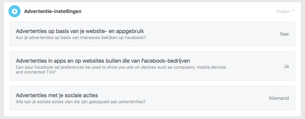 Facebook advertentievoorkeuren