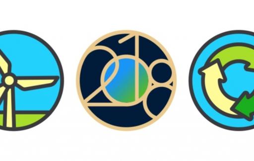 Stickers voor Earth Day uitdaging op de Apple Watch.