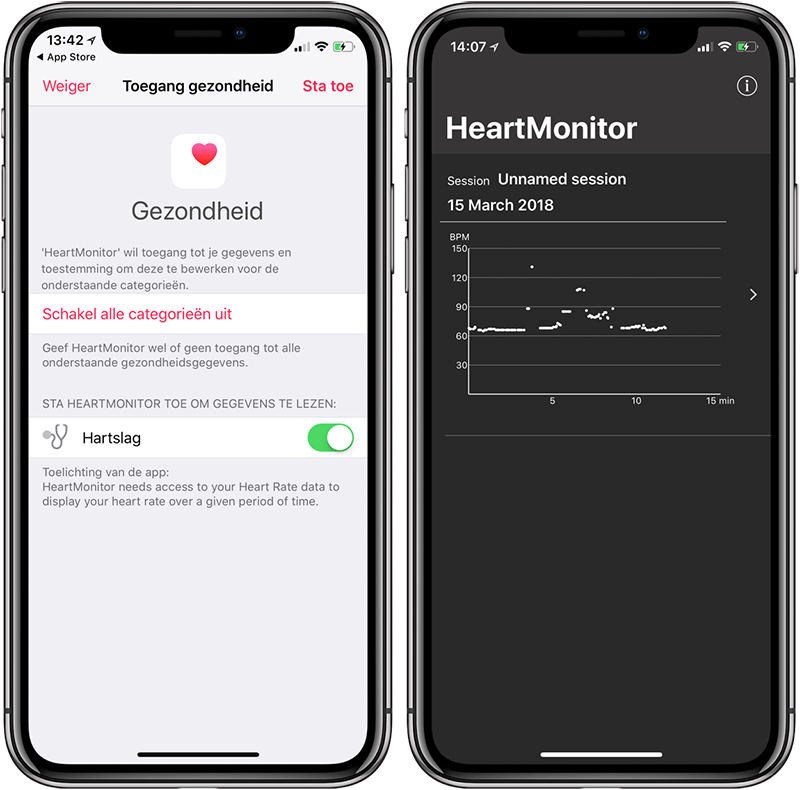 HeartMonitor op de iPhone