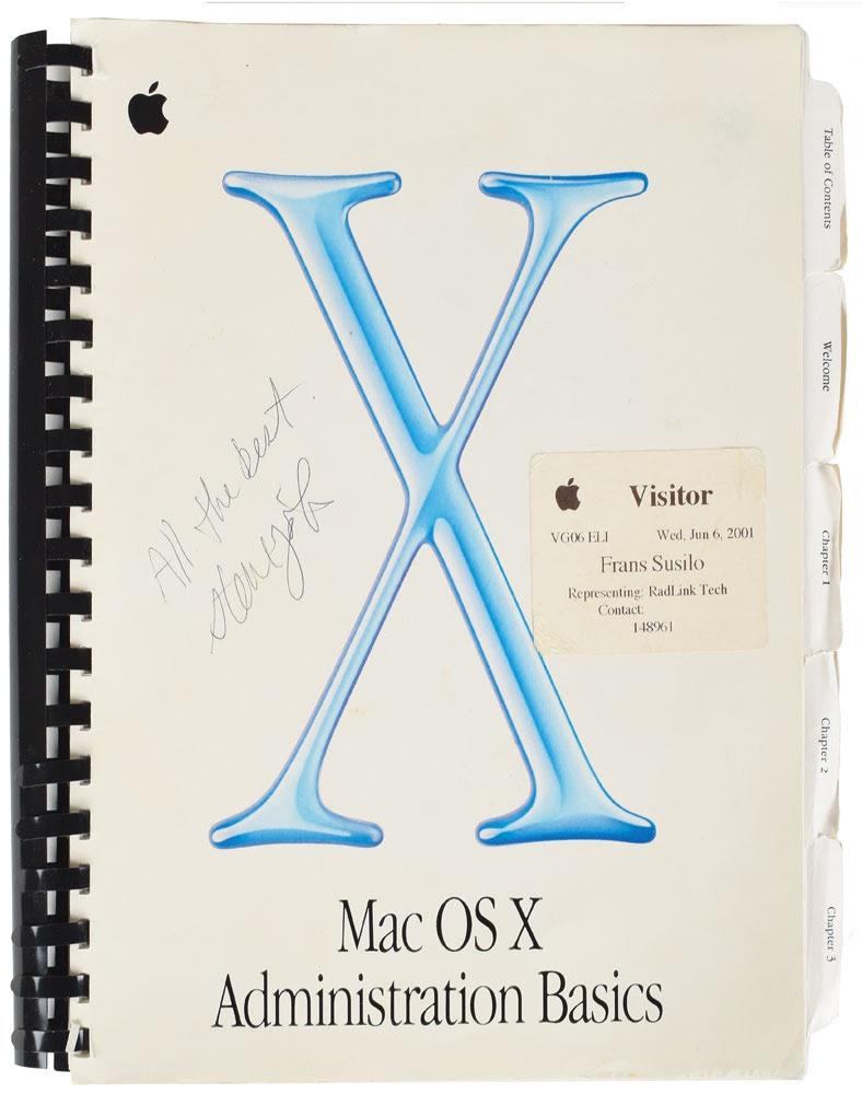 Mac OS X handleiding met Jobs' handtekening