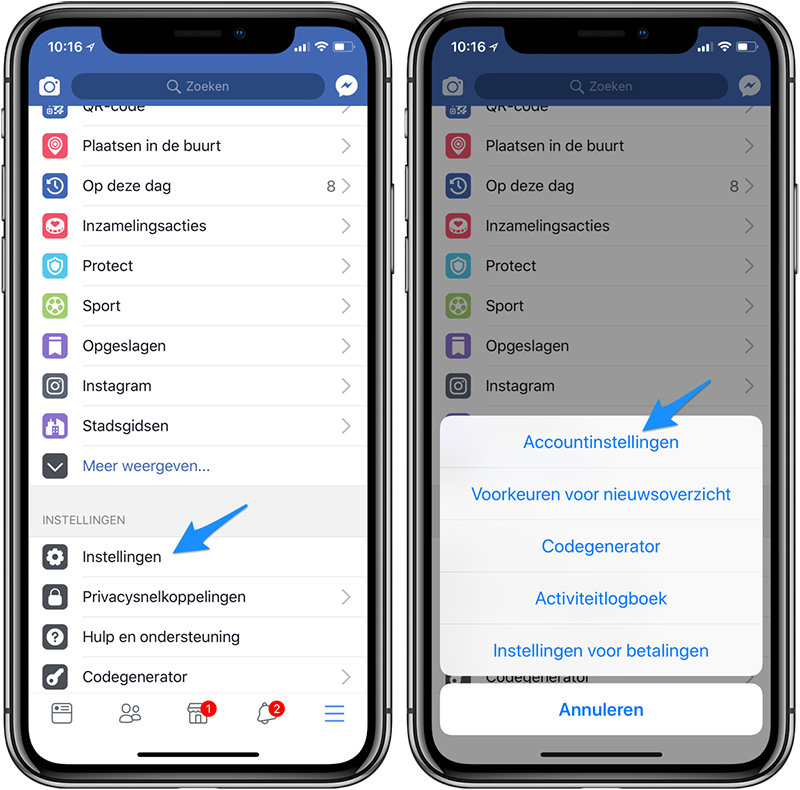 Facebook apps toestemming intrekken